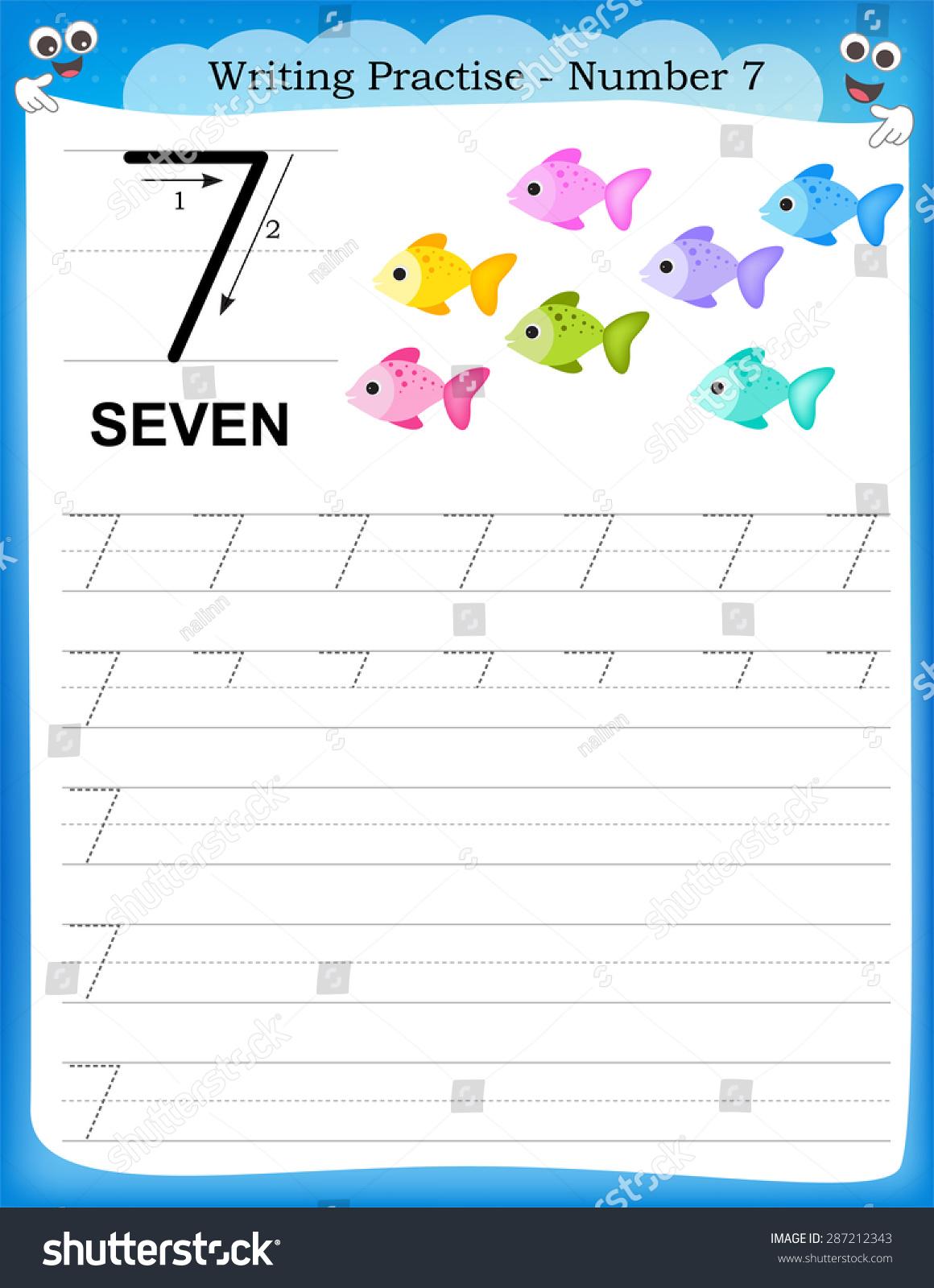 Writing Practice Number Seven Printable Worksheet Stock Vector ...
