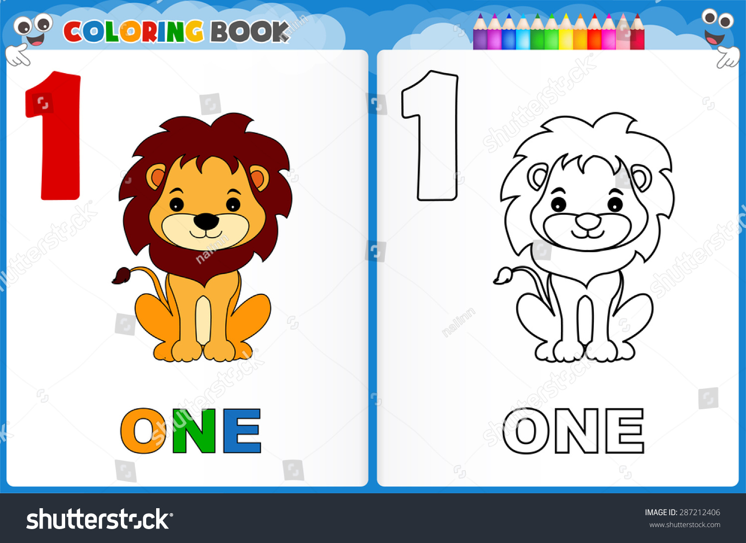 Coloring Page Number One Colorful Sample Stock Vector