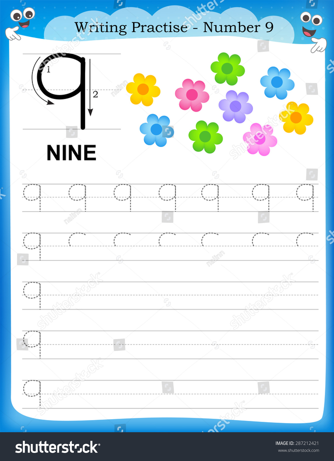 Writing Practice Number Nine Printable Worksheet Stock ...