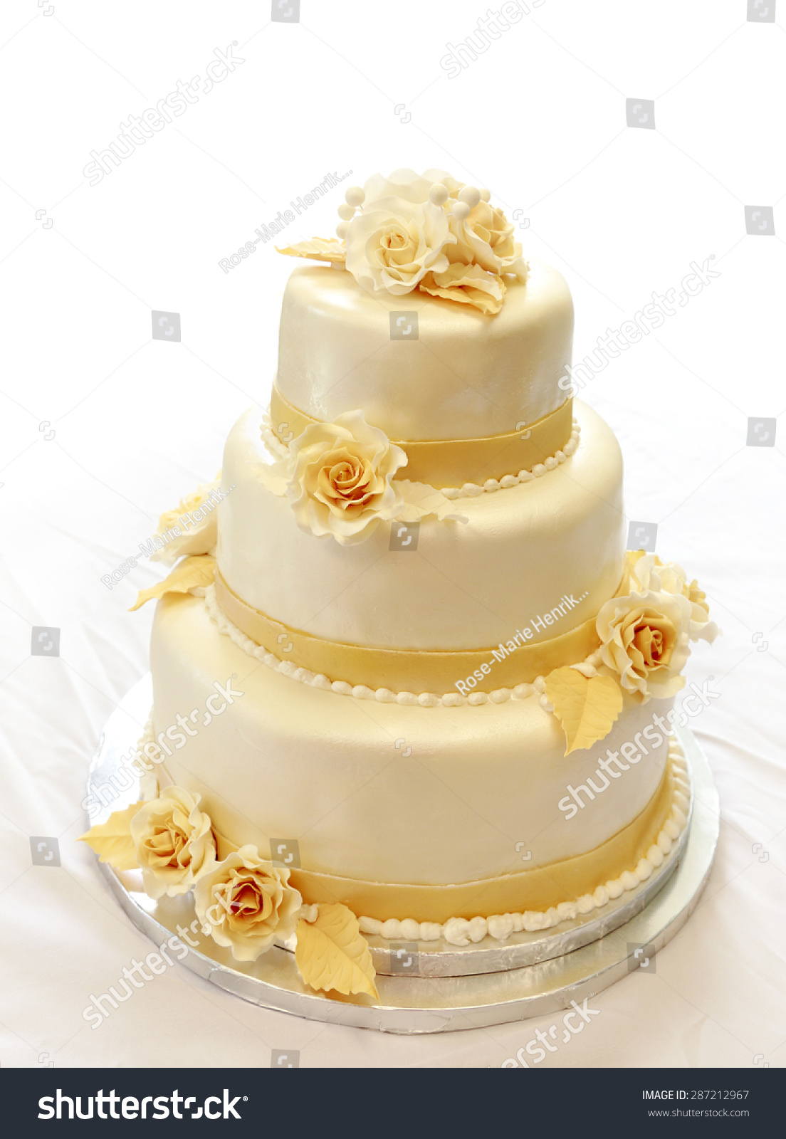 Wedding Cake On White Not Isolated Stock Photo (Edit Now) 287212967 ...