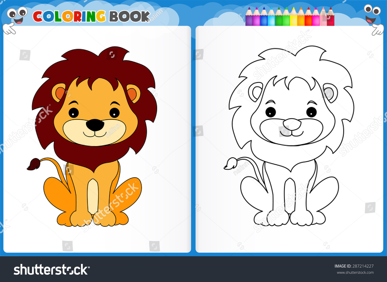 Coloring Page Cute Lion Colorful Sample Stock Vector