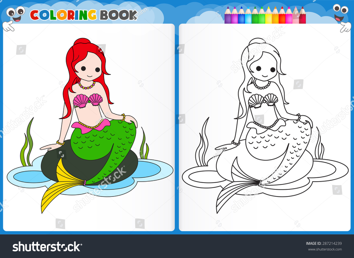 coloring page mermaid colorful sample printable stock vector