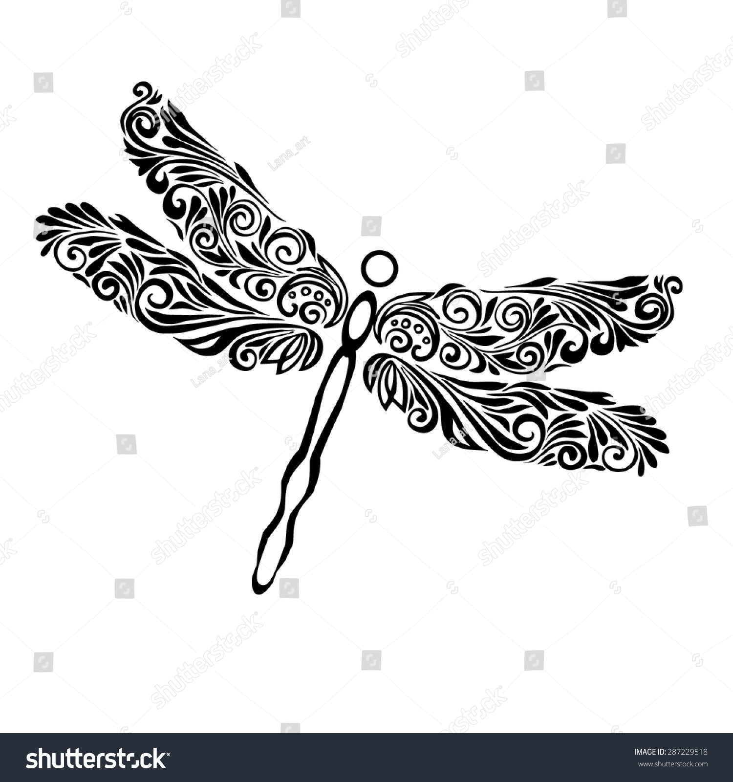 Dragonfly A Symbol Femininity Patterned Stylized Image Dragonfly