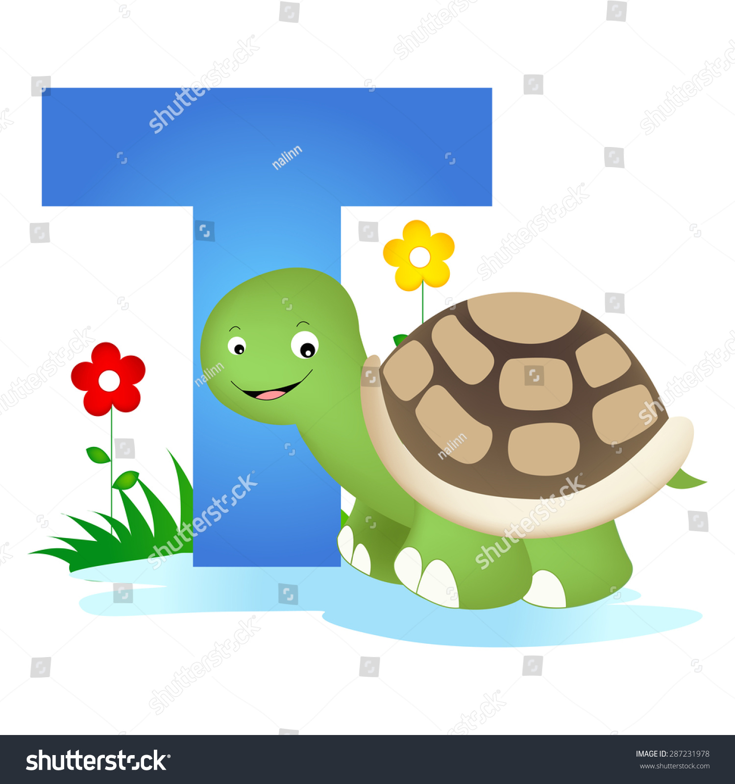 Colorful Animal Alphabet Letter T Cute Stock Vector