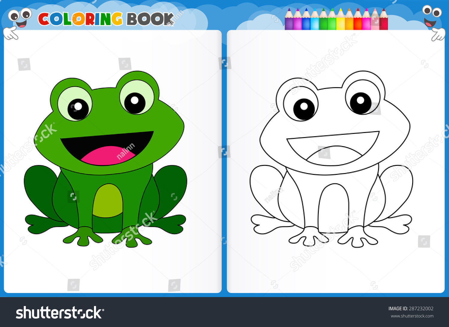 Coloring Page Cute Frog Colorful Sample Stock Vector (2018 ...