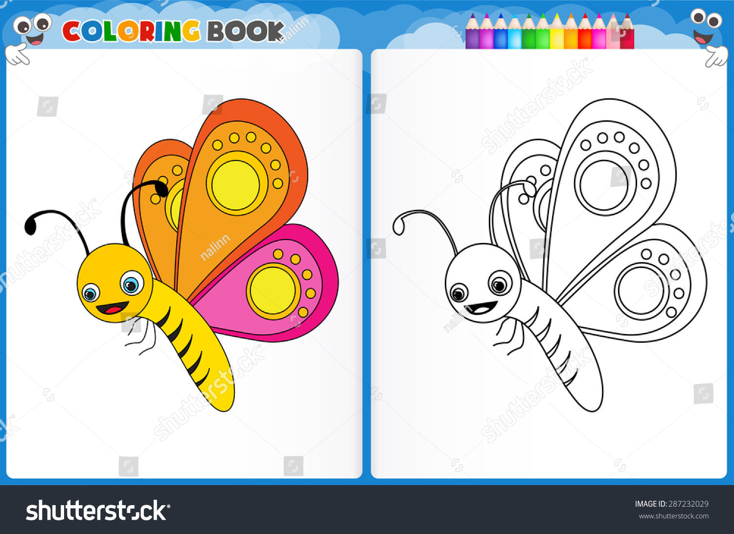 Coloring page butterfly with colorful sample printable worksheet for preschool kindergarten kids to improve basic coloring skills