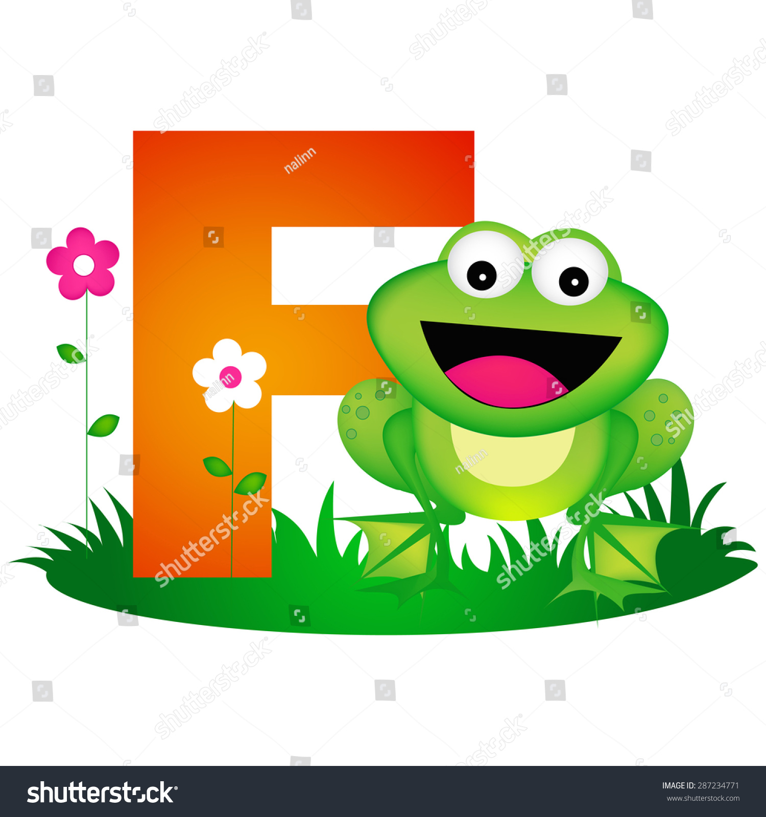 Colorful Animal Alphabet Letter F Cute Stock Vector Royalty Free 287234771