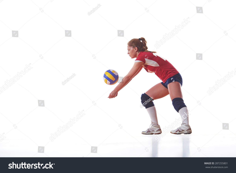 Volleyball Woman Jump Kick Ball Isolated Stock Photo ...