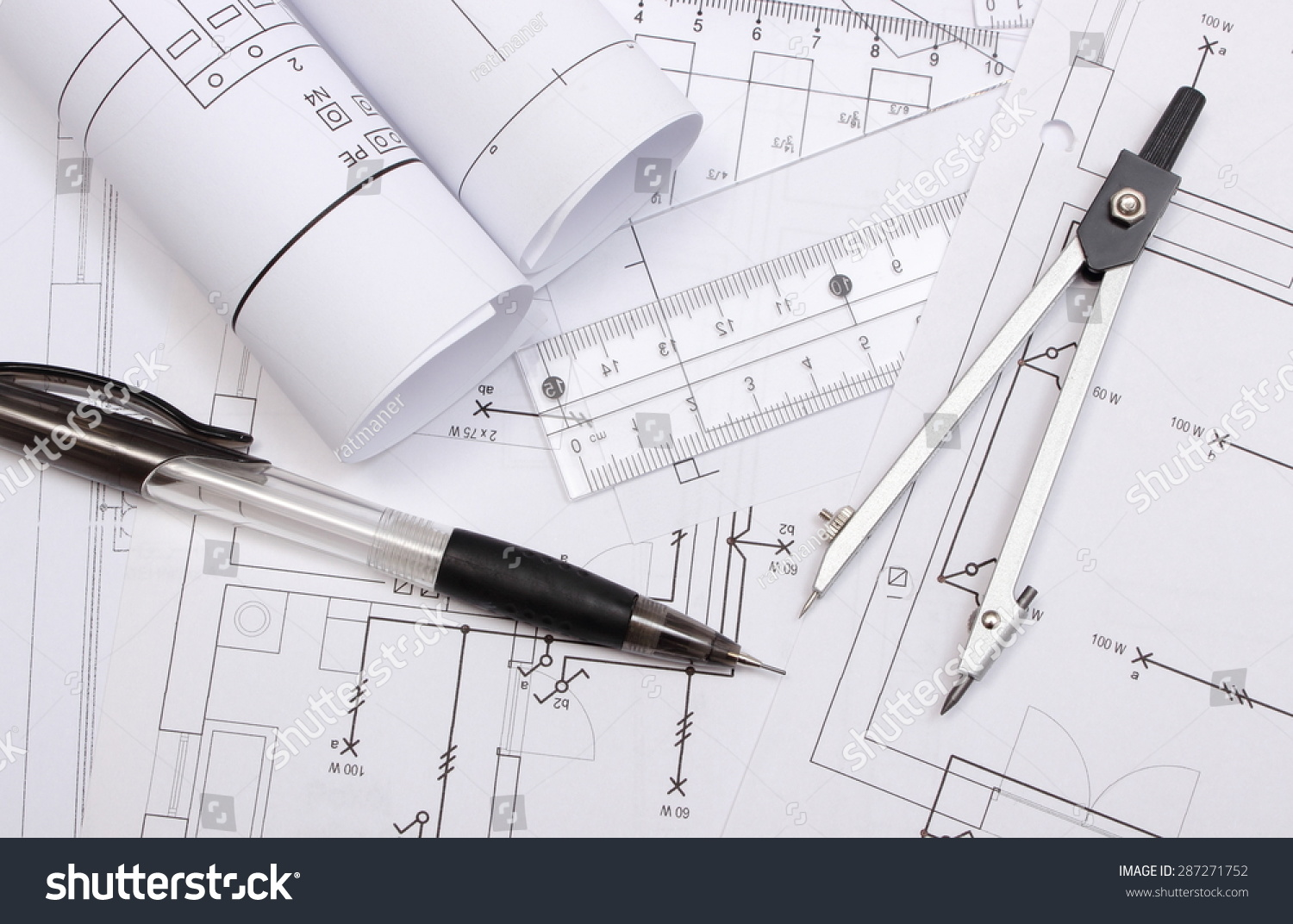 Rolled Electrical Diagrams Accessories Drawing Lying Stock Photo And For On Construction Of House Drawings