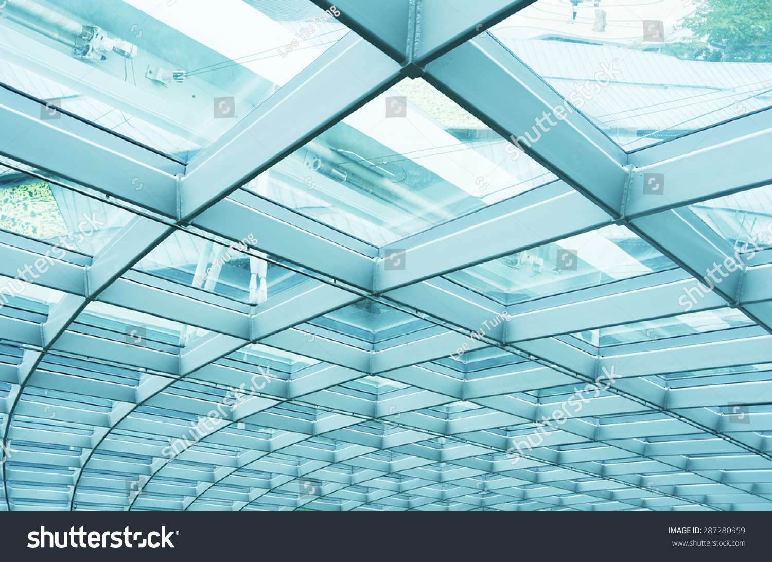Building Abstract Modern Reinforced Steel Glass Stock