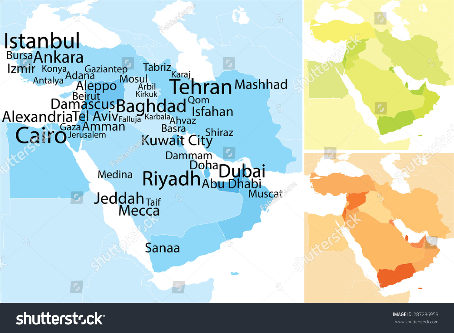 Map Middle East Carefully Scaled Text Stock Vector Royalty Free