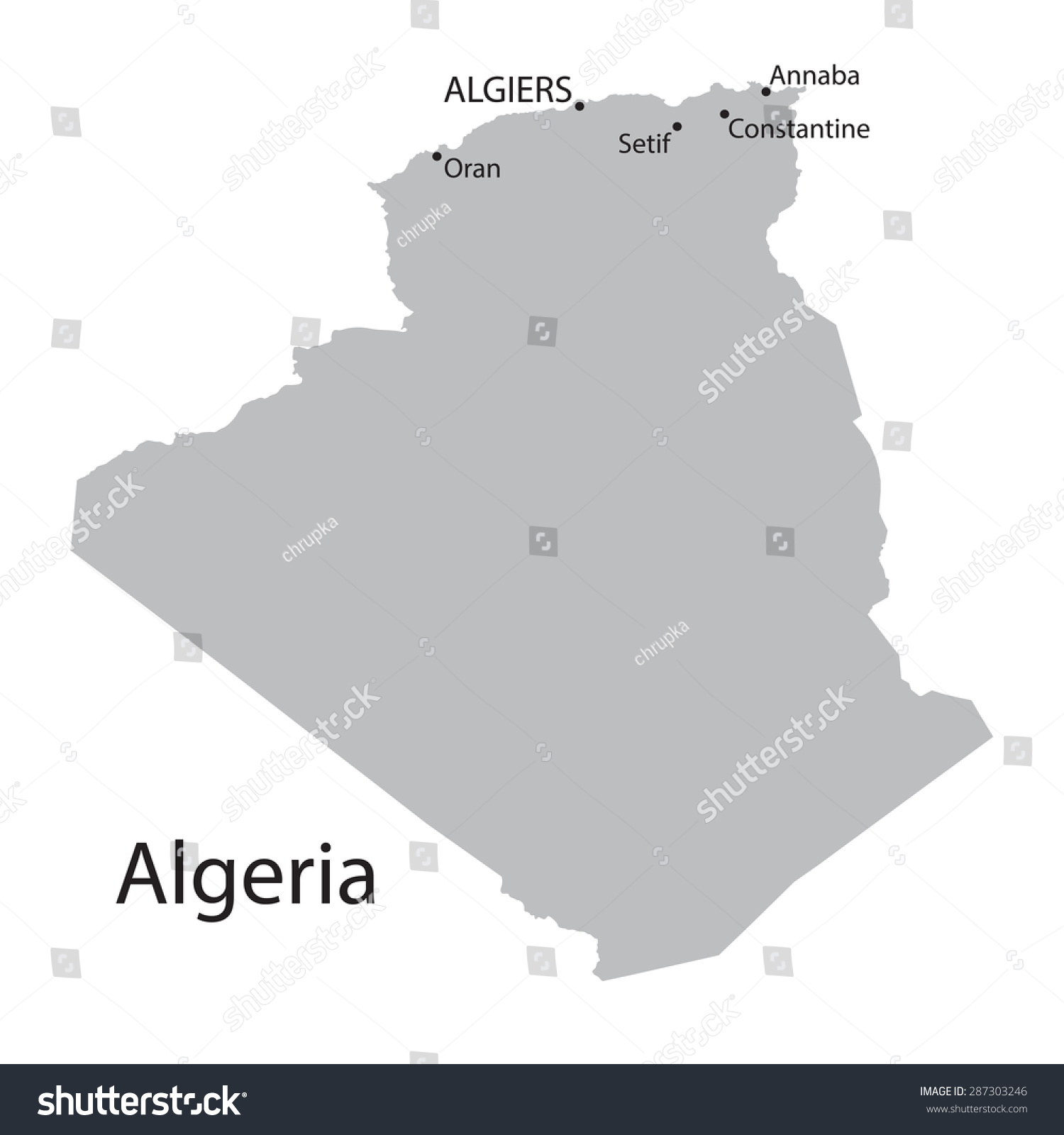 Grey Map Algeria Indication Biggest Cities Stock Vector - Cities map of algeria