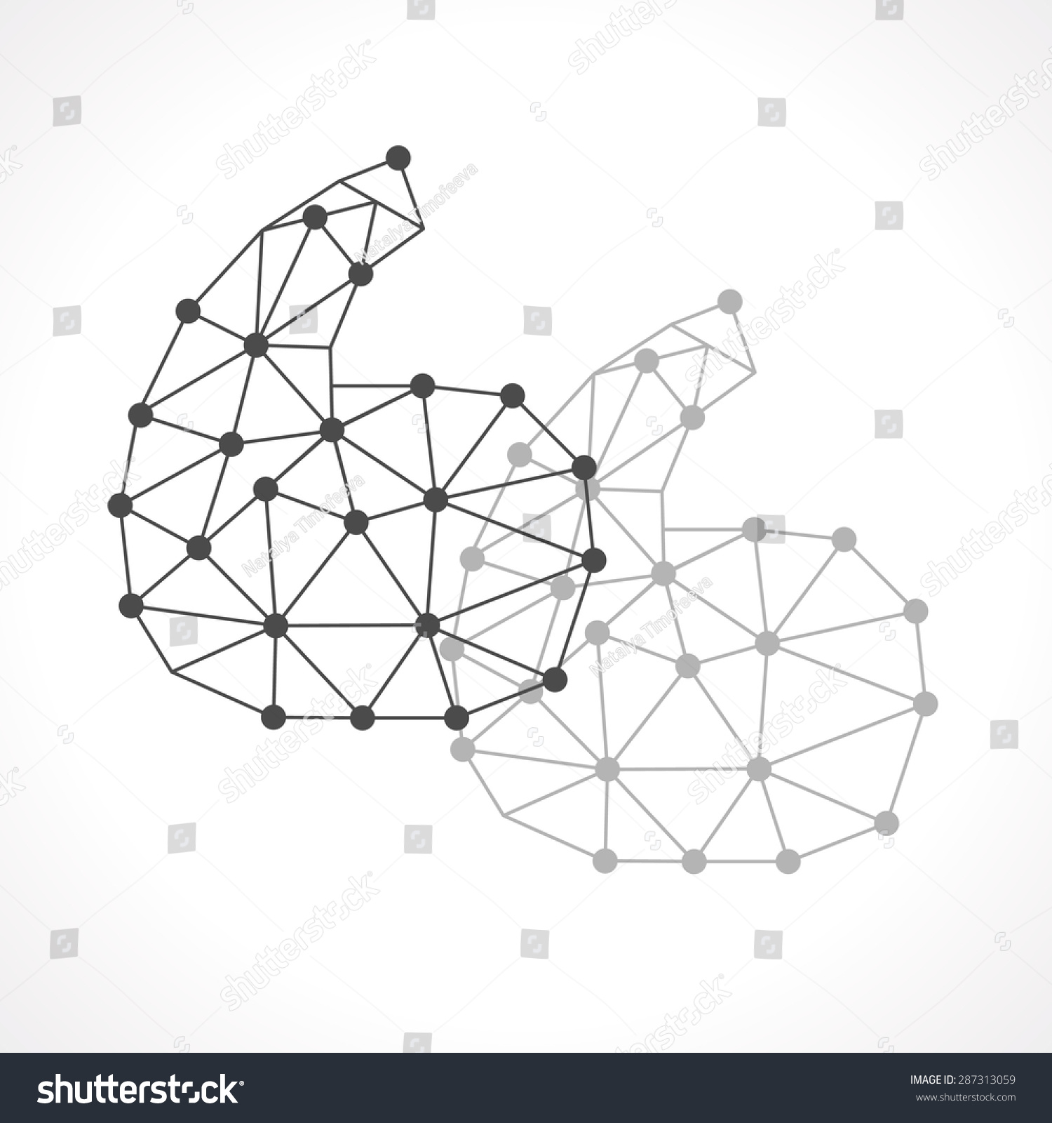 Polygonal Geometric Intersecting Quotation Marks Symbol Stock Vector