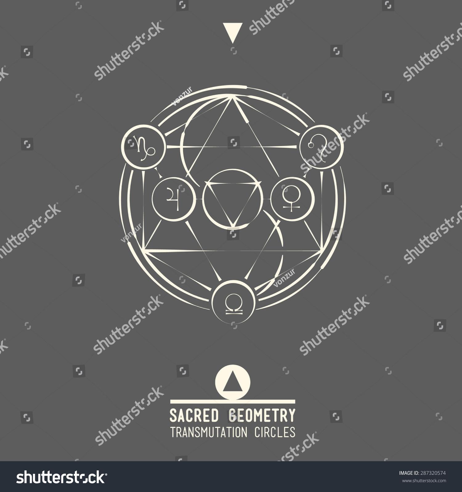 Poster transmutation circlessacred geometry set trendy stock sacred geometry set of trendy vector alchemy symbols collection background religion biocorpaavc