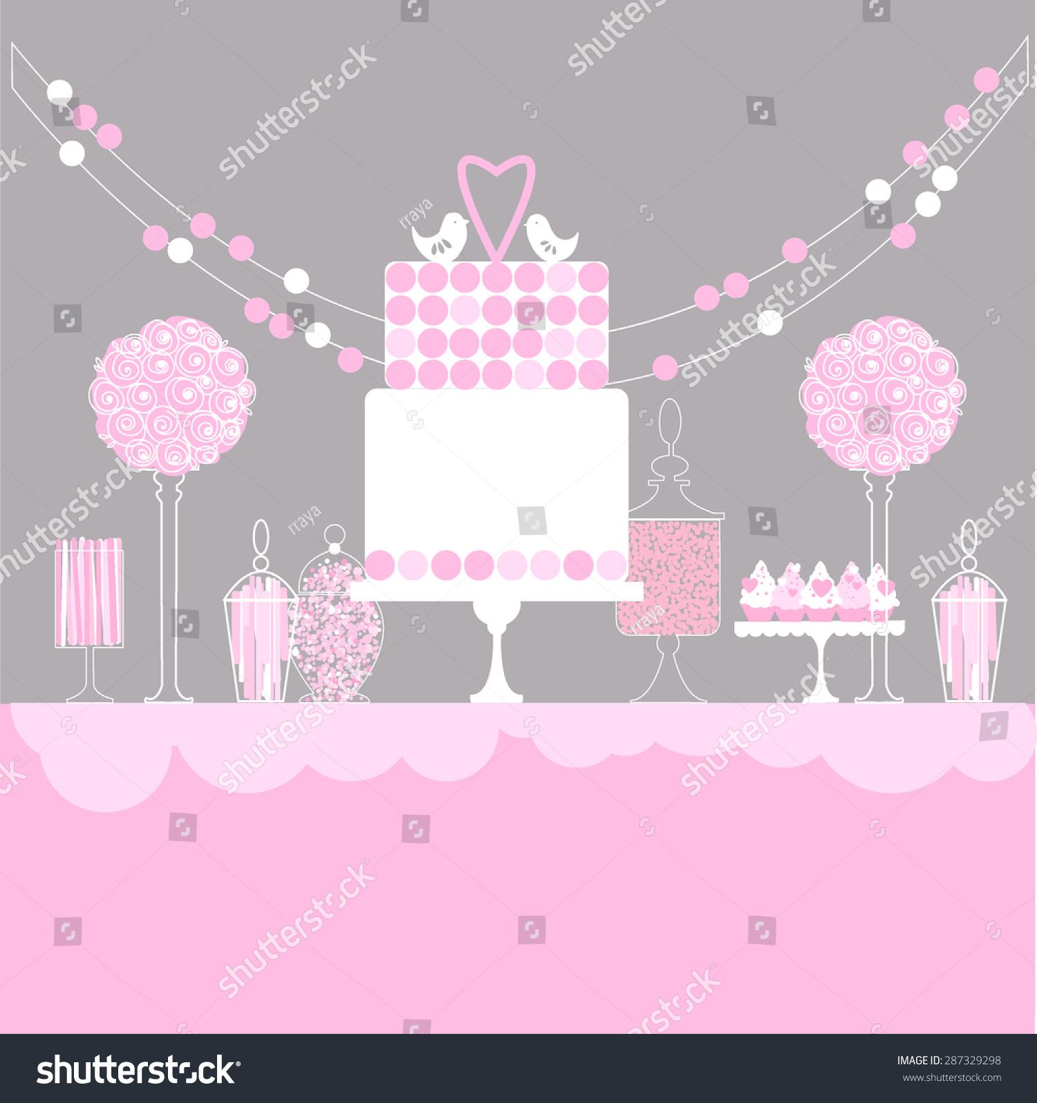 pink candy table dessert bar vector stock vector