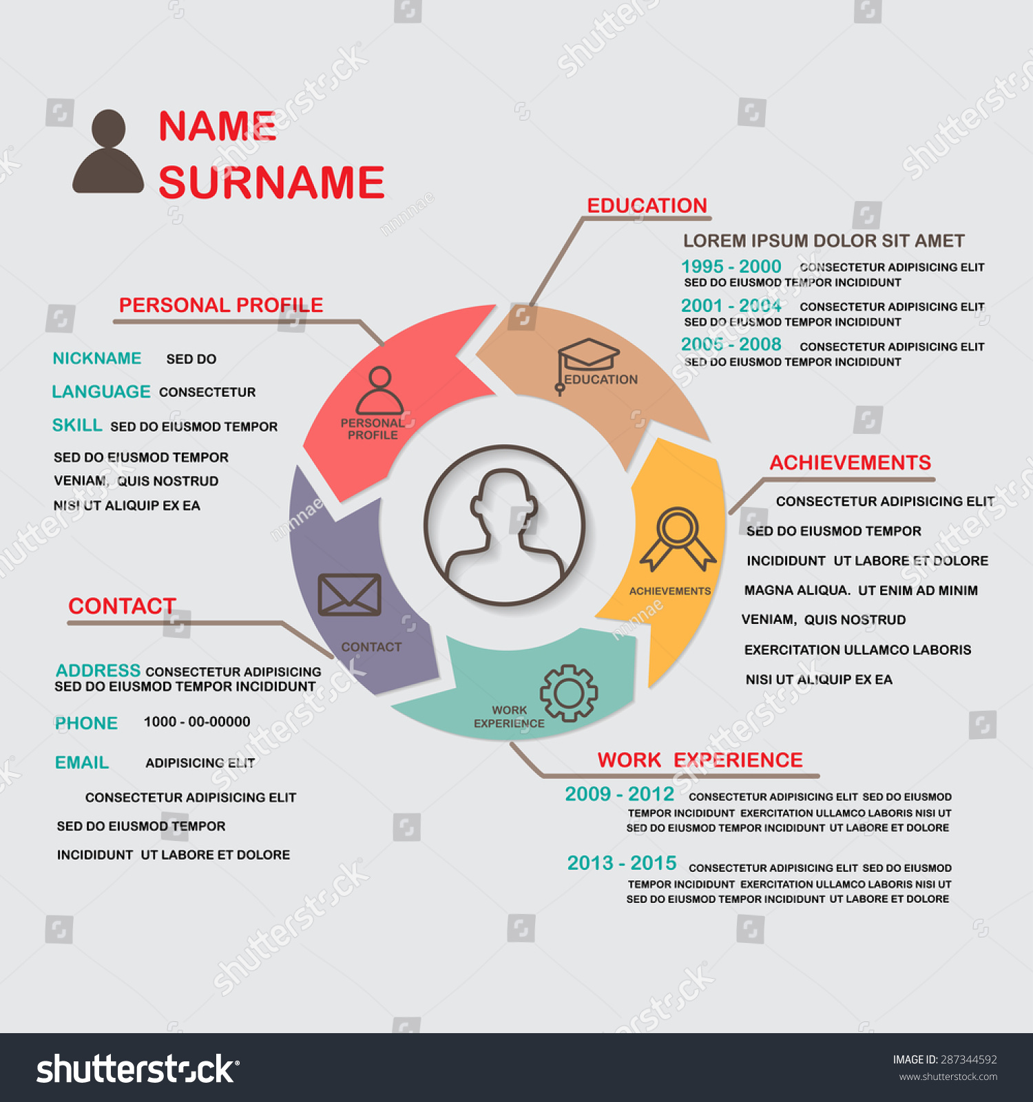 resume cv template infographics background element stock vector 287344592