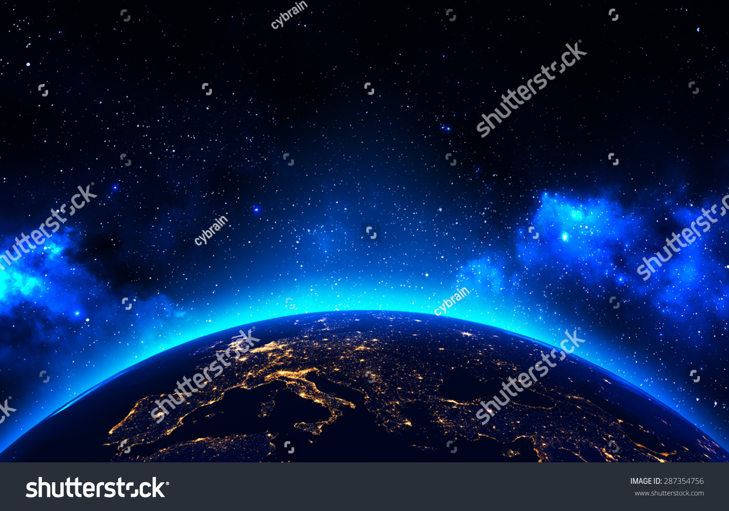 earth view outer space background night stock illustration