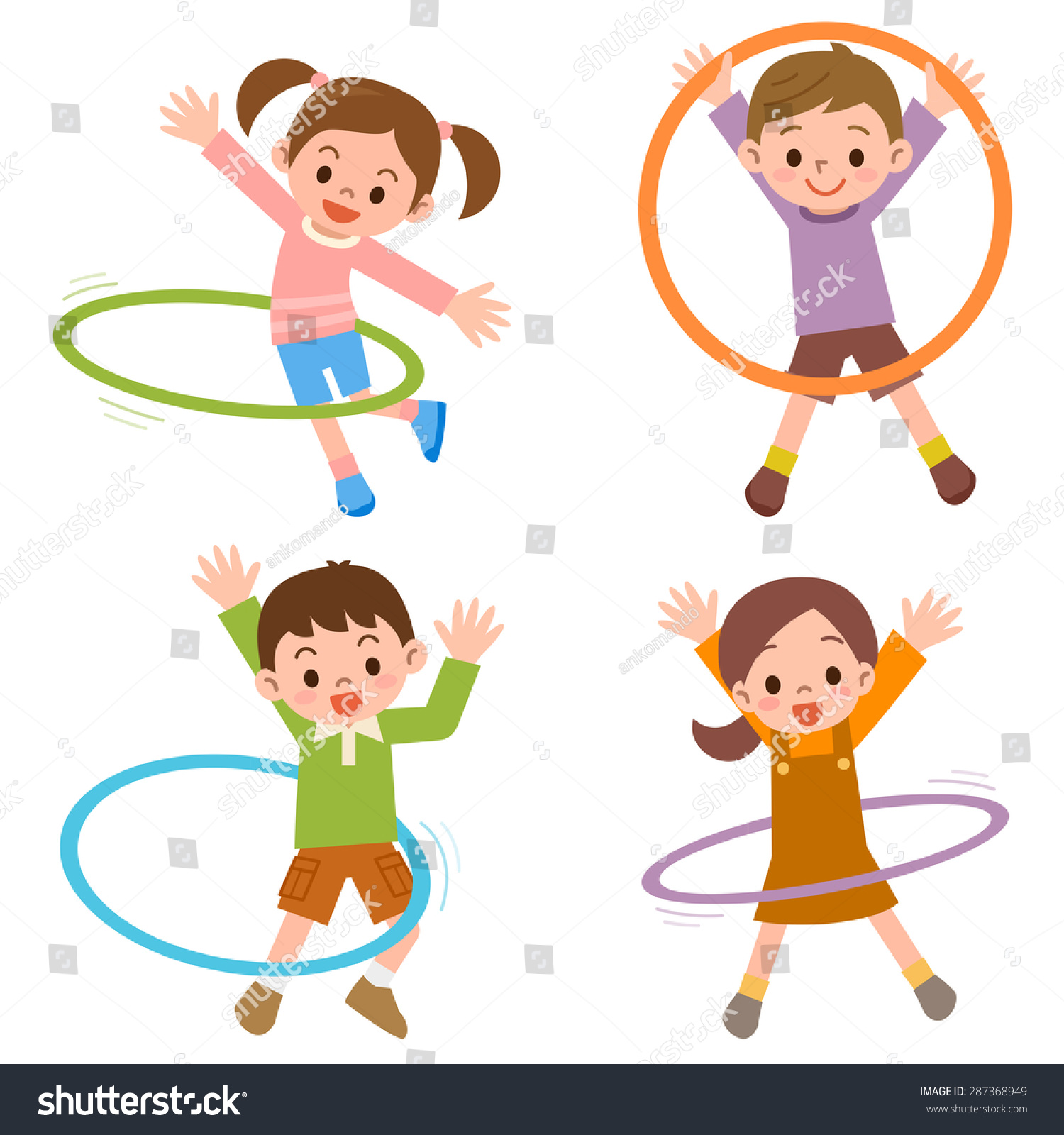 children hula hoop stock vector 287368949 shutterstock. Black Bedroom Furniture Sets. Home Design Ideas
