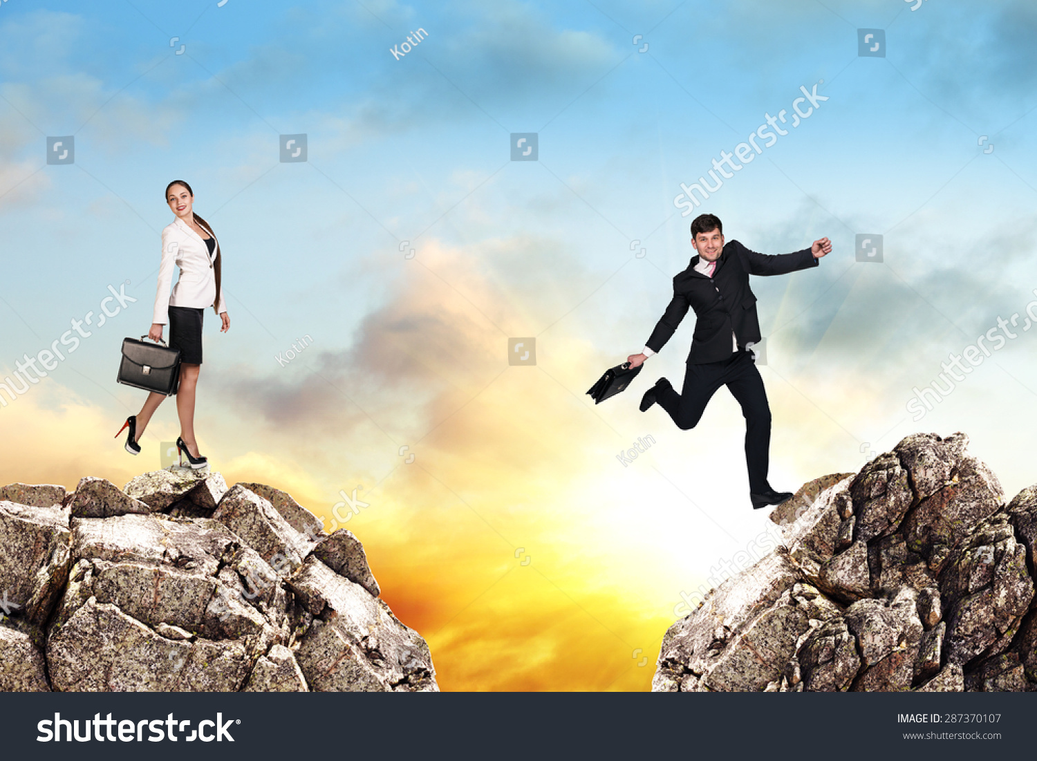 Image young businessman jumping over gap stock photo for Jump the gap