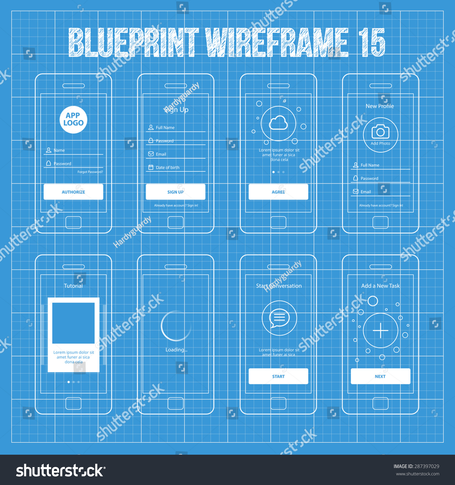 Mobile app blueprint wireframe ui kit stock vector 287397029 mobile app blueprint wireframe ui kit 15 sign up screen sign in screen malvernweather Gallery