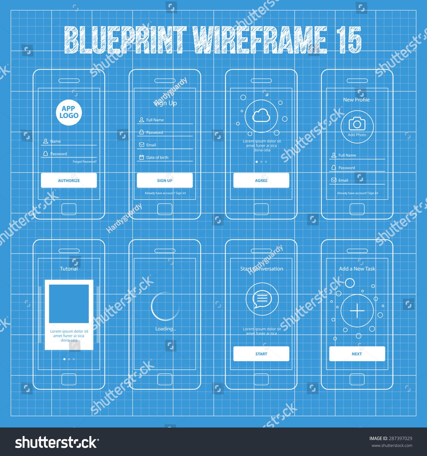 Mobile app blueprint wireframe ui kit 15 sign up screen for App for blueprints