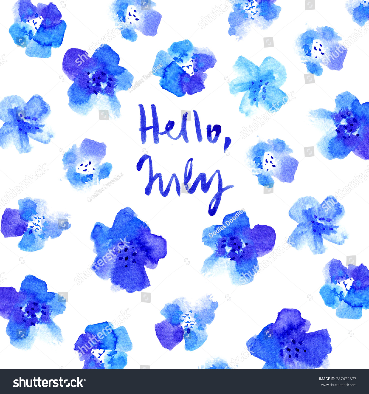 Hello July Calligraphy Watercolor Card With Flowers And Text. Hello July  Calendar Header. Summer