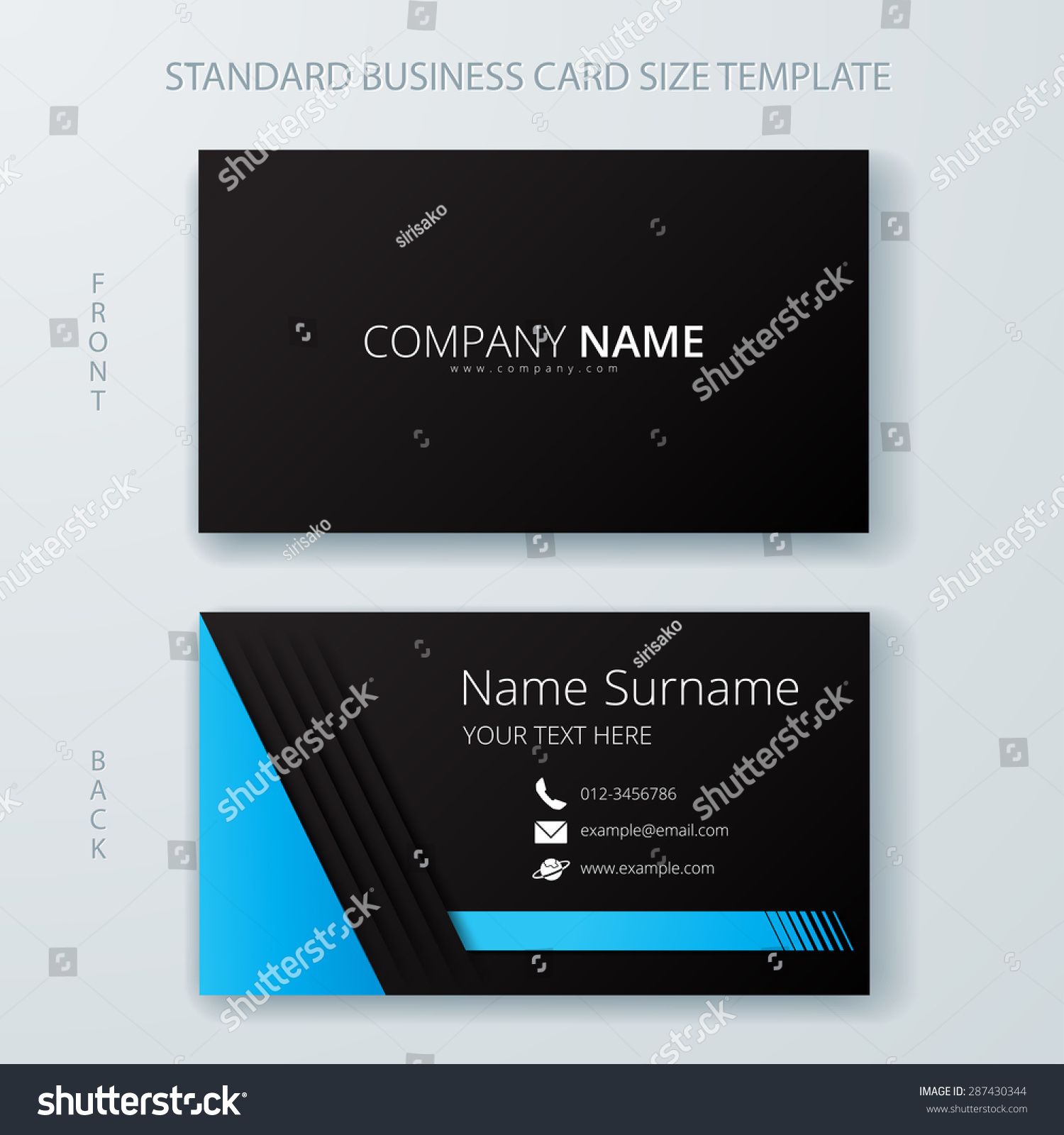 business card name card template modern stock vector