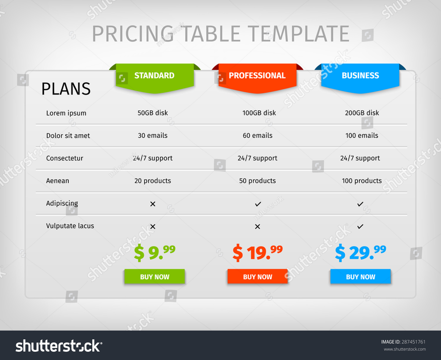 Comparison Services Web Pricing Table Template Vector – Comparison Chart Template