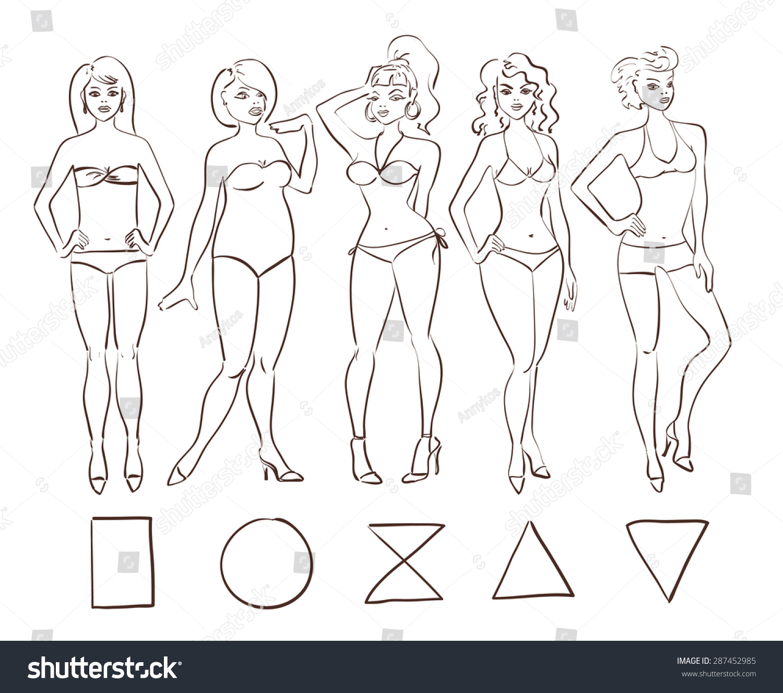 sketch cartoon set isolated female body のベクター画像素材