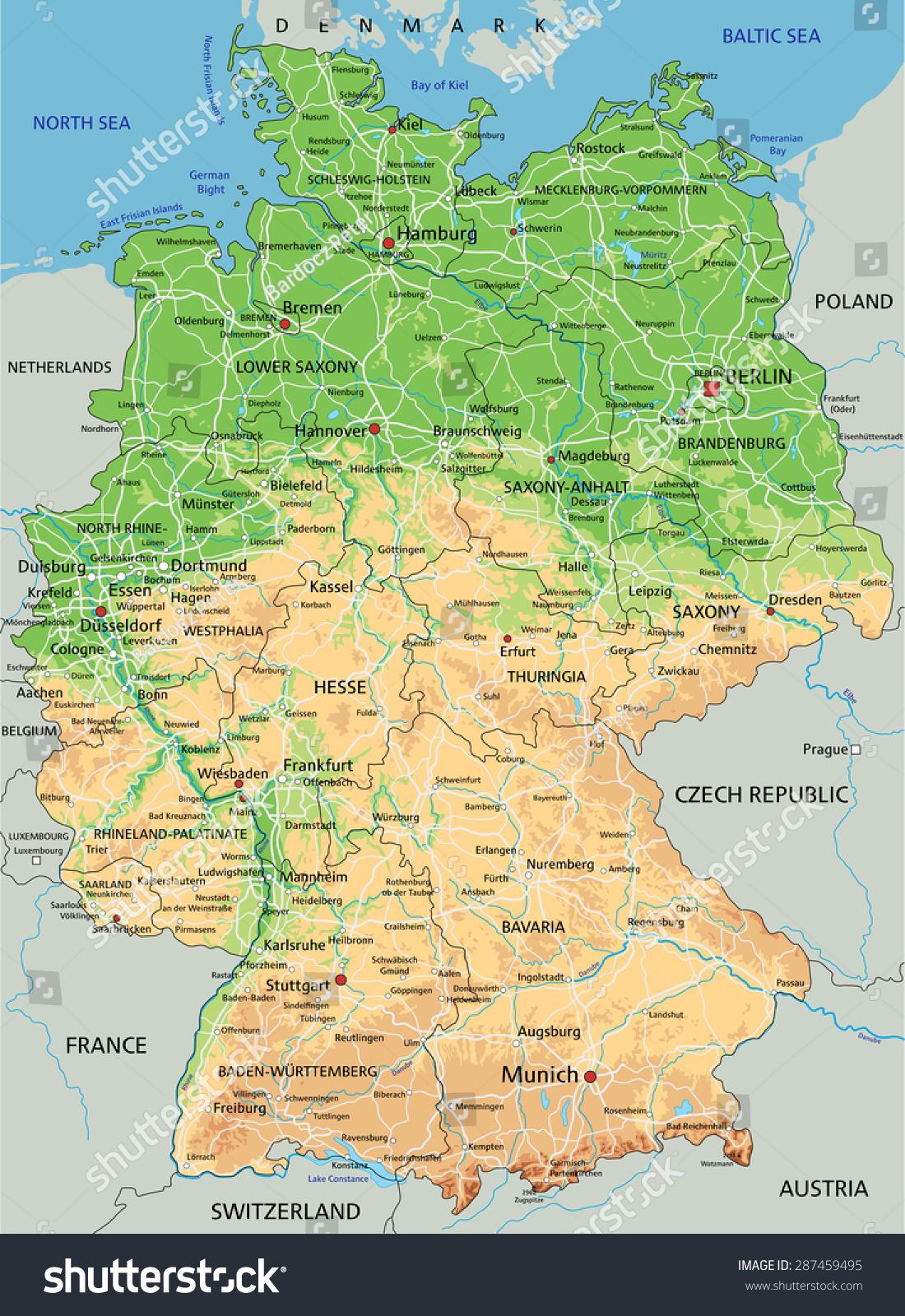 Picture of: Vector De Stock Libre De Regalias Sobre High Detailed Germany Physical Map Labeling287459495