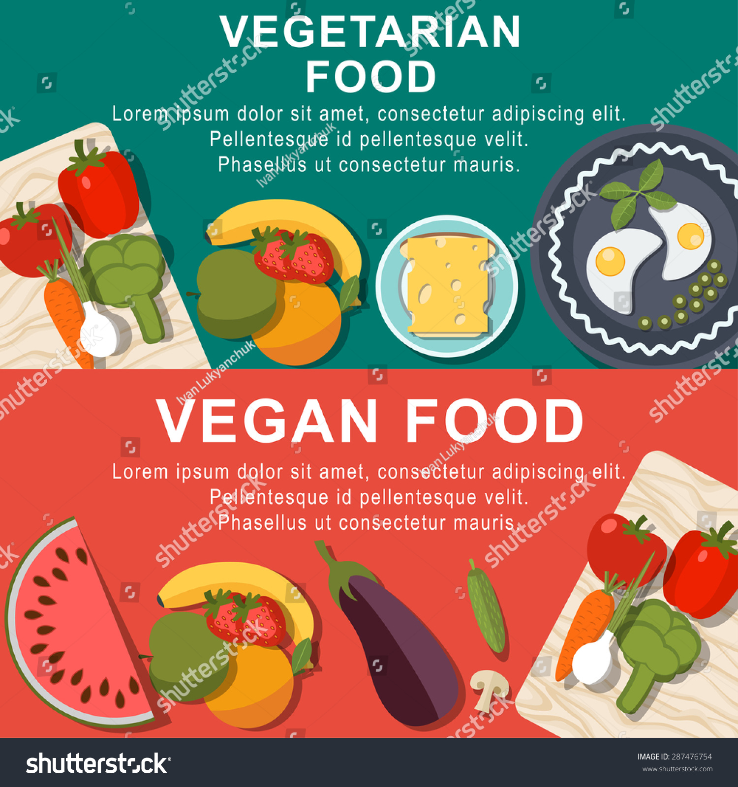 Flat Vegetarian Vegan Foods Meal Banner Stock Vector Royalty Free 287476754