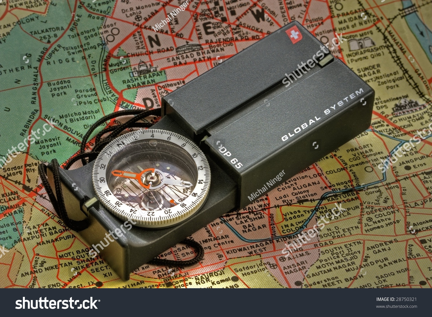 compass with map close-up