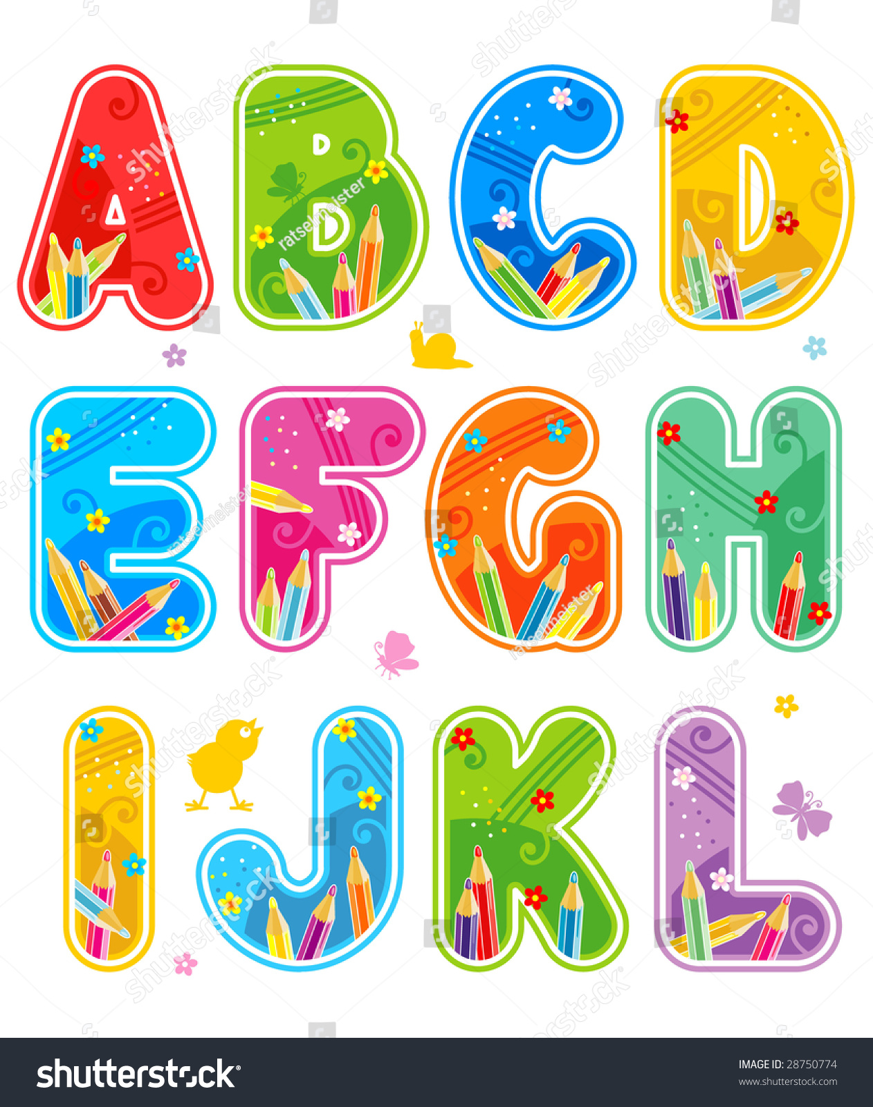 Colorful Decorated Spring Summer Alphabet Set Stock ...
