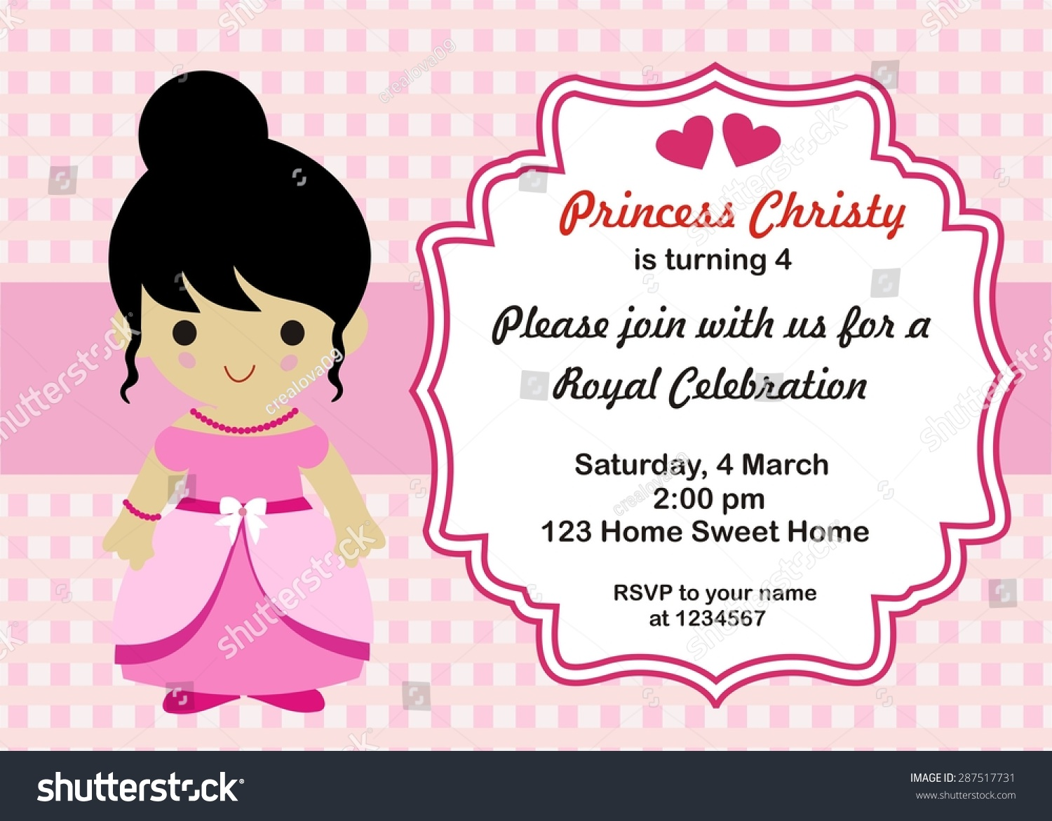 Little princess birthday invitation vector stock vector 287517731 little princess birthday invitation vector stopboris Image collections