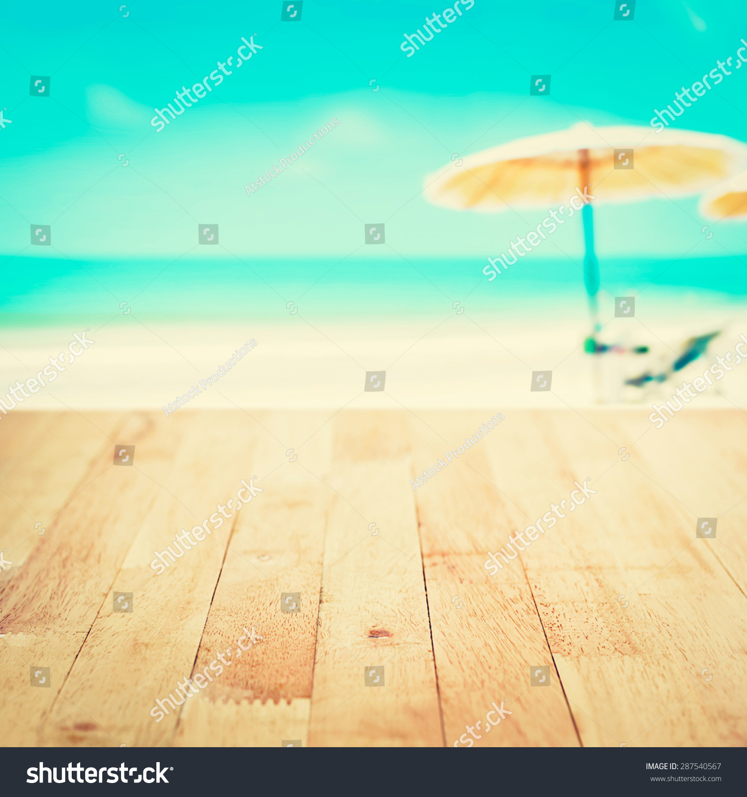 Wood Table Top On Blurred Beach Background Vintage Tone: Wood Table Top On Blurred White Stock Photo 287540567