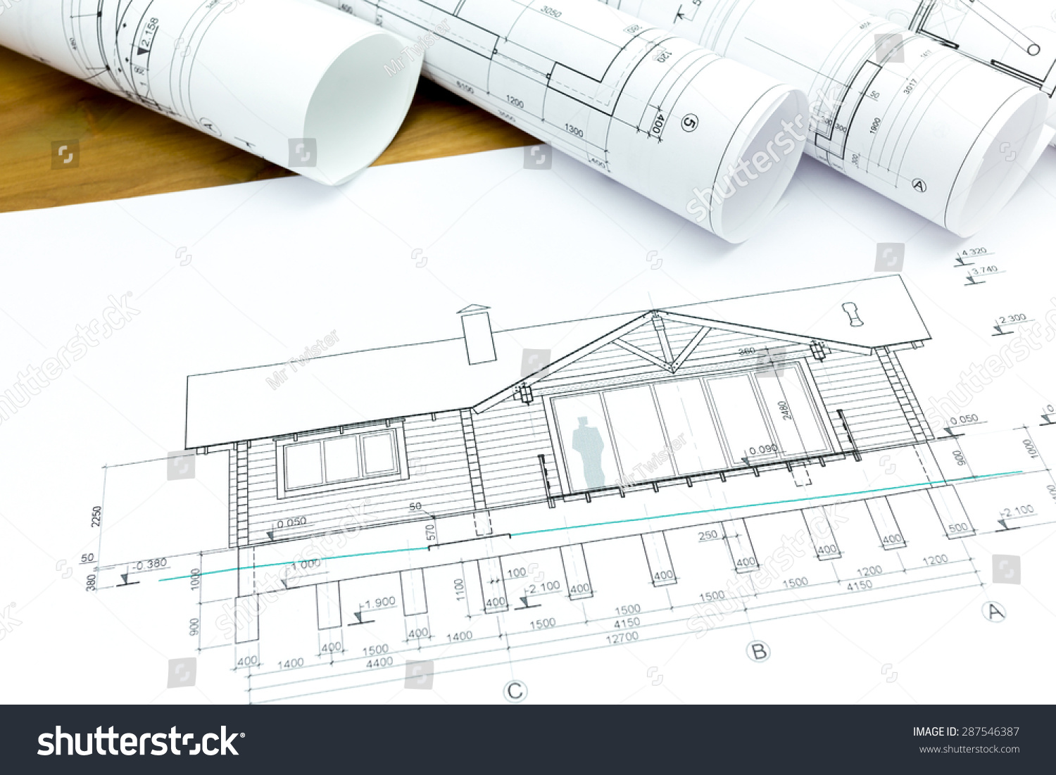 architectural blueprints and construction plans rolls of