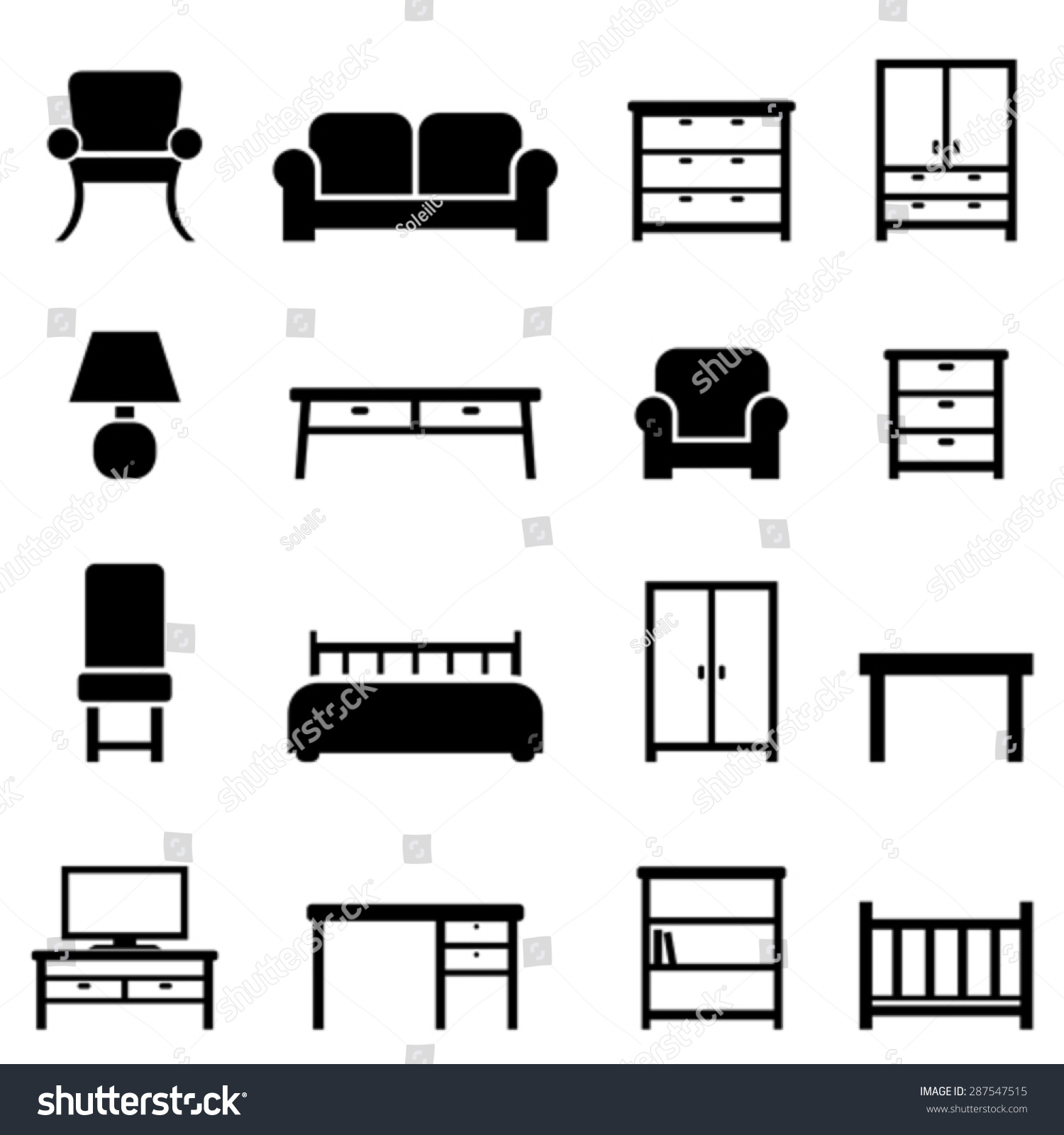 Home Decor Furniture Icon Set Stock Vector 287547515