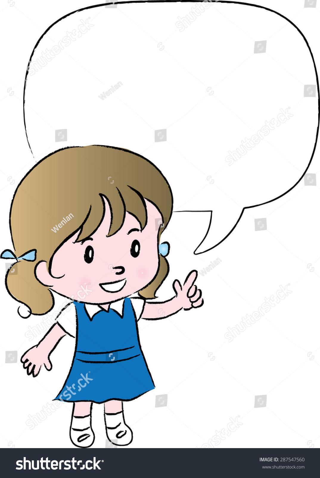 Šola dekle pogovor prazen mehurček govora Vector Vector 287547560 - Shutterstock-5721