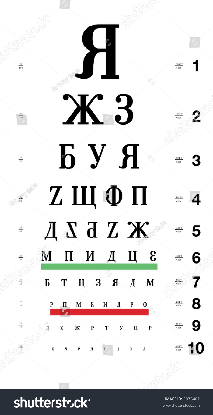 Russian Eye Chart Stock Photo Edit Now 2875482 Shutterstock