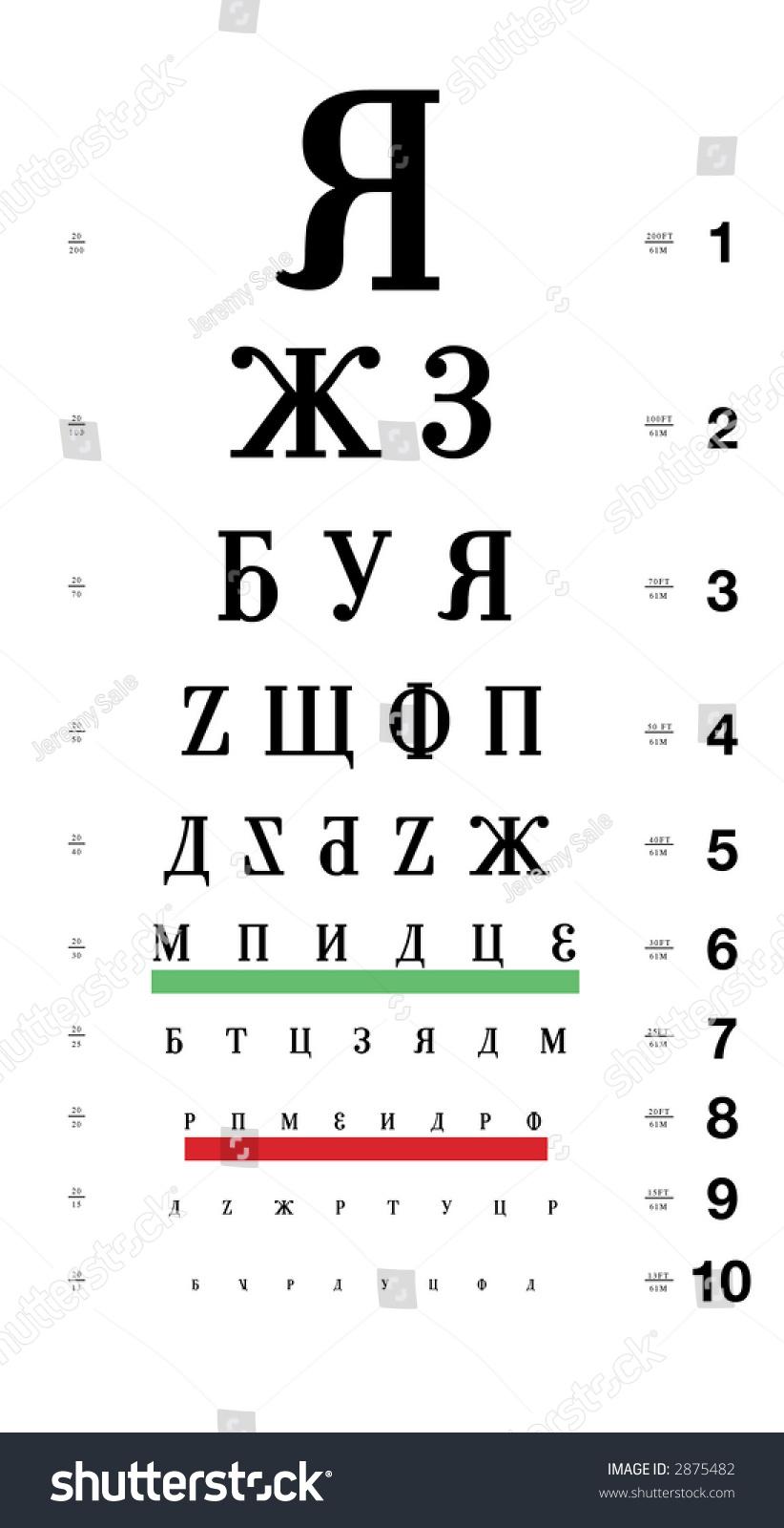 Russian Eye Chart Stock Photo Edit Now 2875482 Shutterstock