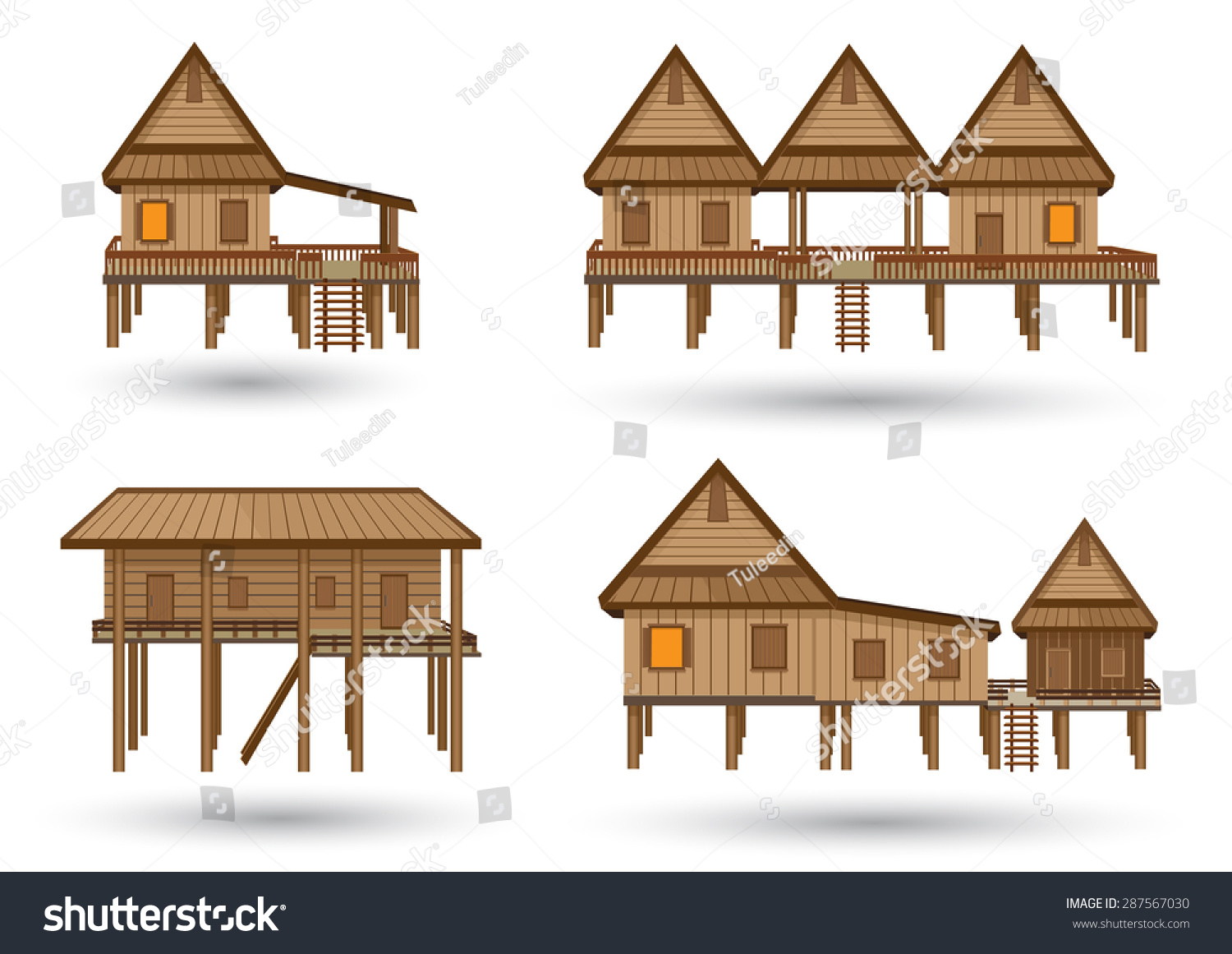 Wood House Elevation : House northeast thailand thai made stock vector