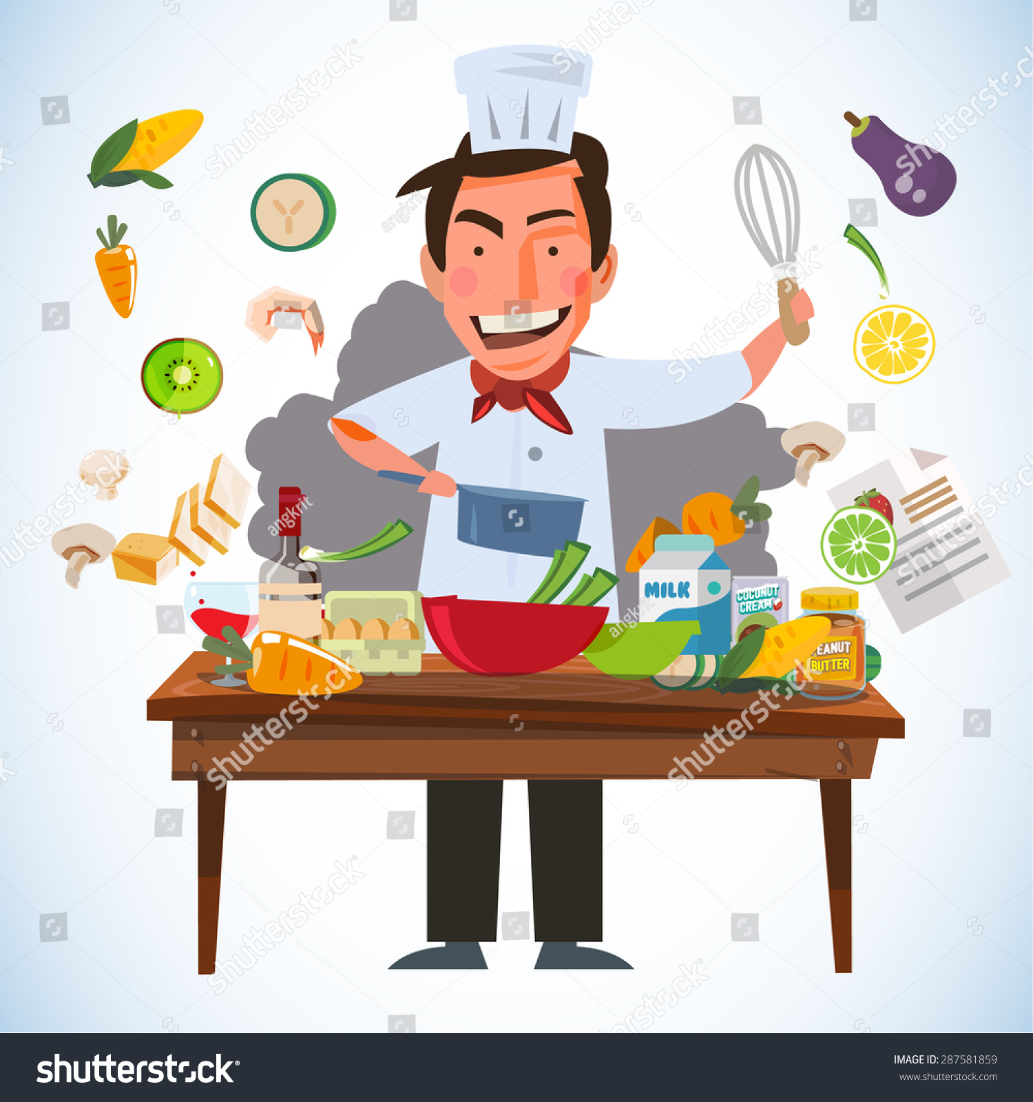 Cartoon kitchen table - Stock Vector Smart Chef Character Cooking Behind Kitchen Table With Various Of Ingredients Kitchen And Chef