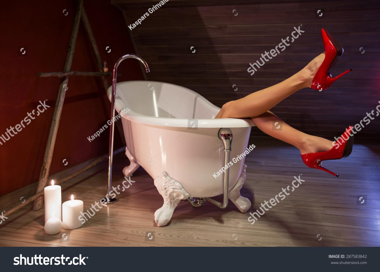 Woman Red High Heel Shoes Bath Stock Photo 287583842 Shutterstock