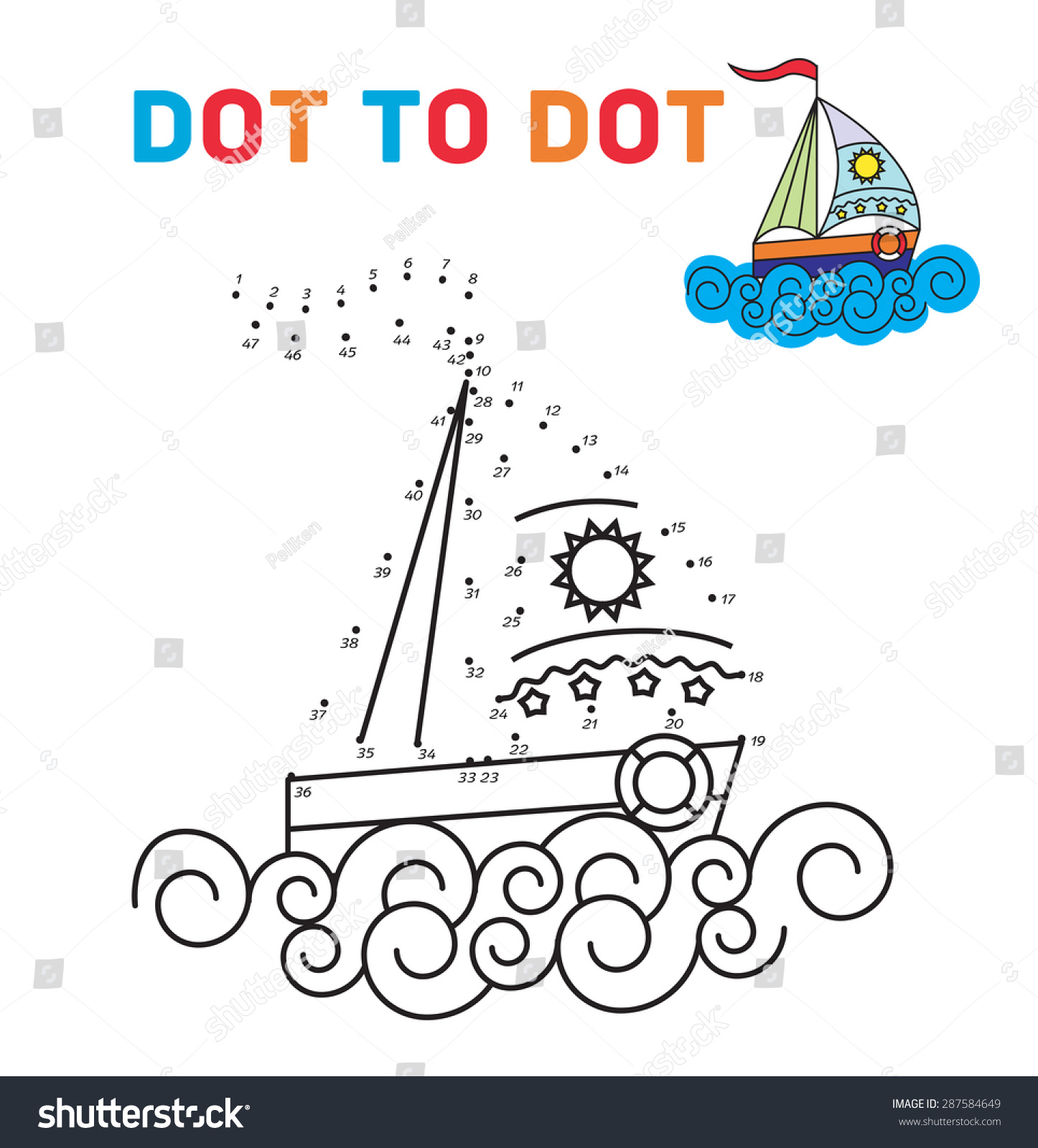 coloring book dot dot boat teaching stock vector 287584649