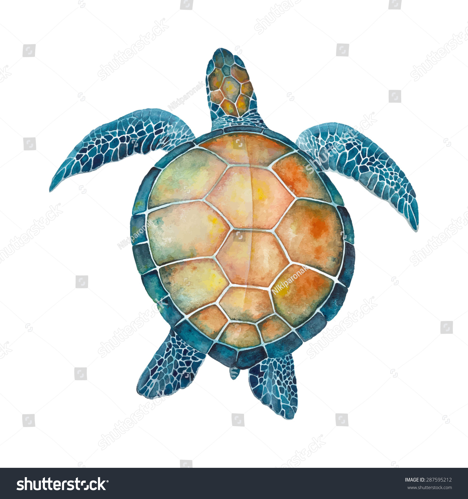 watercolor sea turtle stock vector 287595212 shutterstock