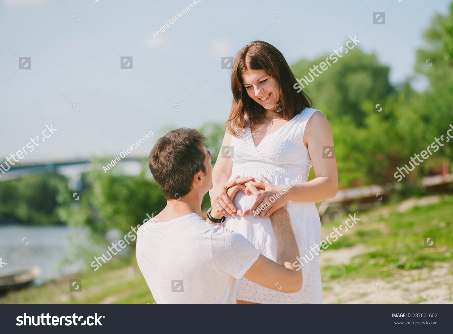 Pregnant Family. Love Concept. Husband And Wife In ...