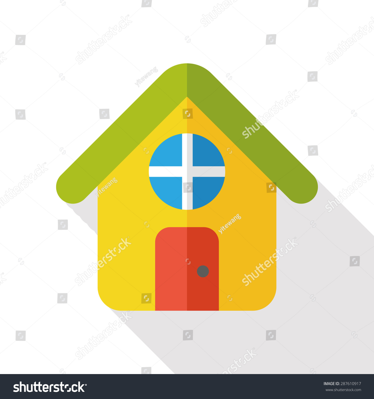 Home Flat Icon Long Shadow Stock Vector (Royalty Free