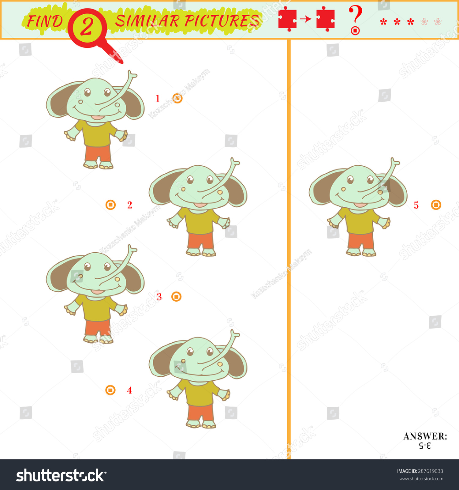 find two similar pictures puzzle picture stock vector 287619038