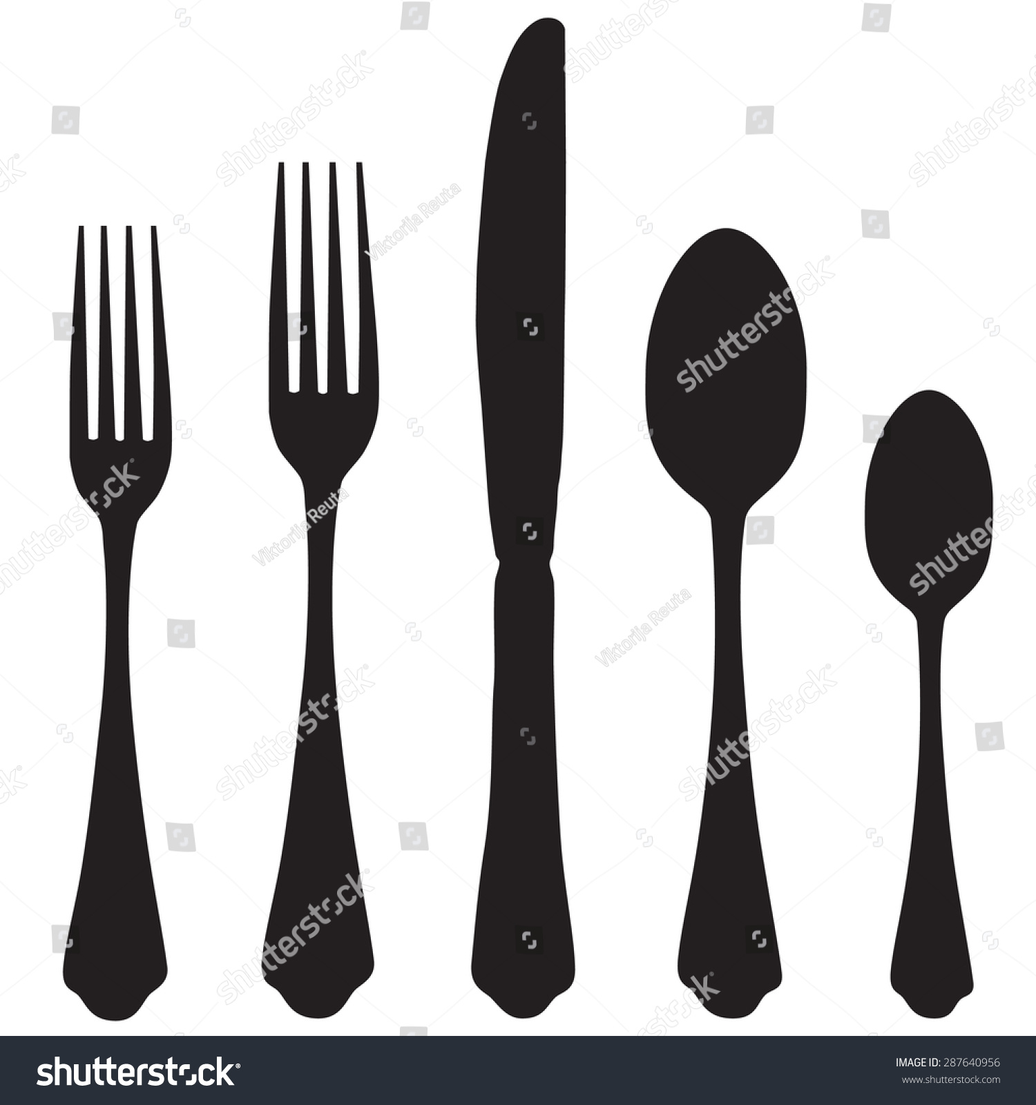 black silhouette fork knife spoon vector stock vector