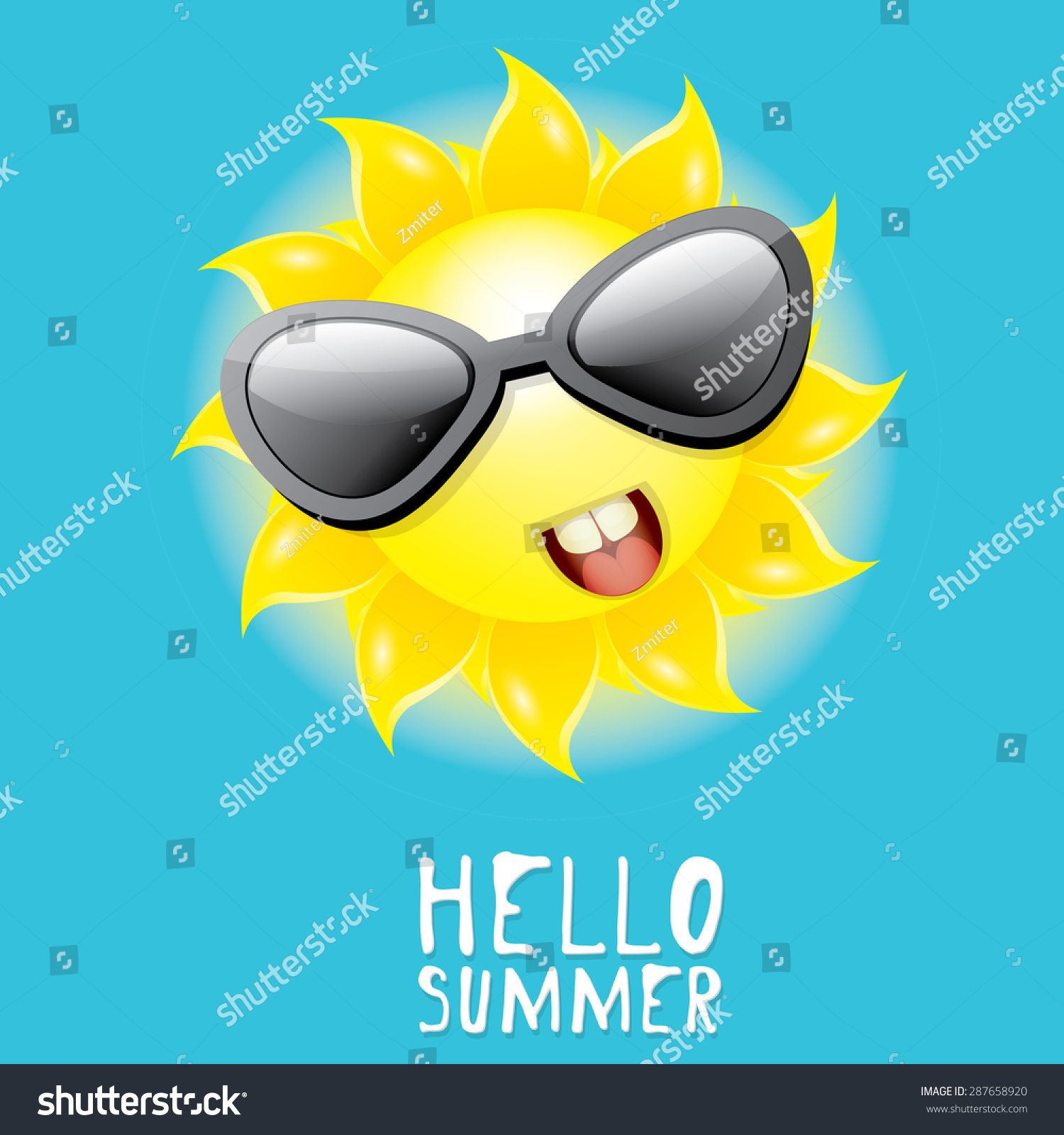 Hello Summer Vector Summer Smiling Sun Stock Vector 287658920   Shutterstock
